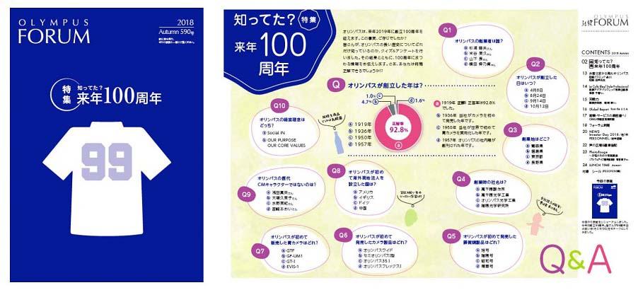 100周年プレ号での特集「知ってた? 来年100周年」の表紙と目次ページ。100周年を楽しく意識してもらうために、自社の歴史をクイズ形式で提示