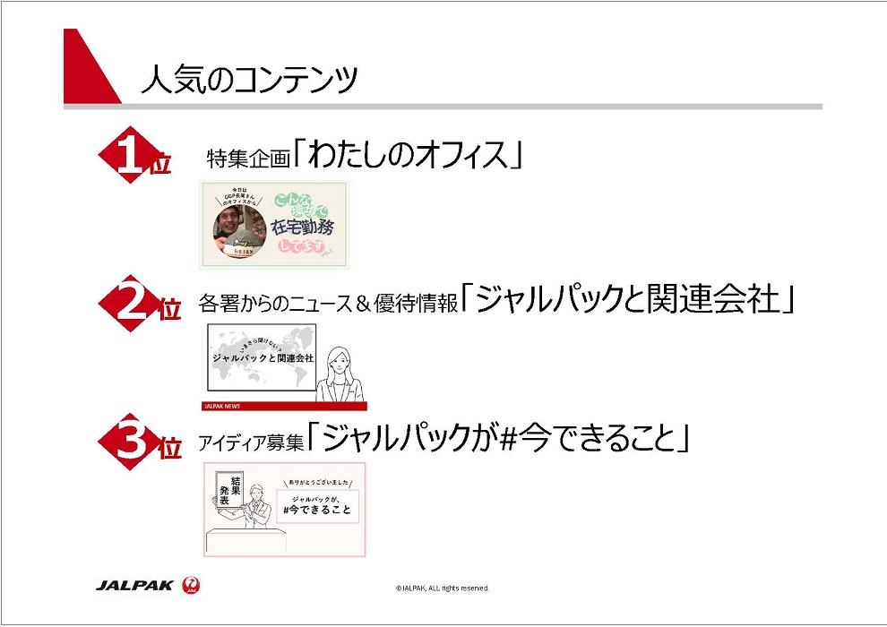 ジャルパック Web社内報の人気コンテンツ ベスト3