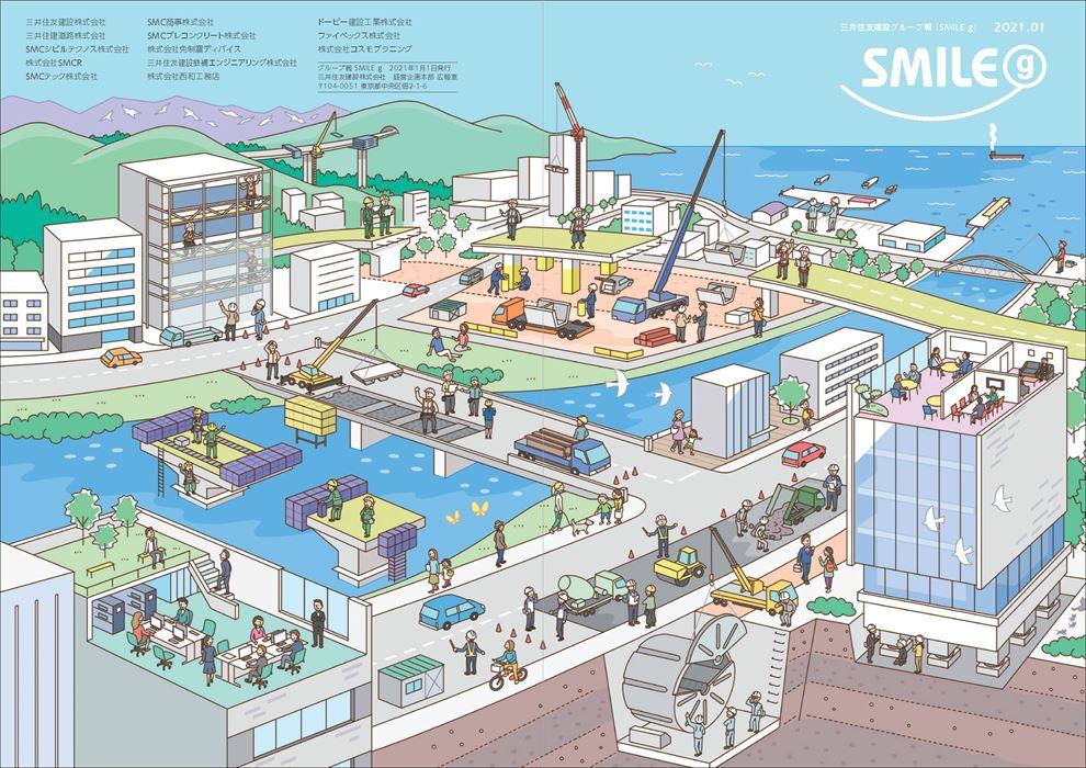 街の中で行われているグループ全12社の事業をイラストで表現